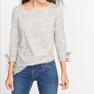 Old Navy Gray Tie Sleeve Top